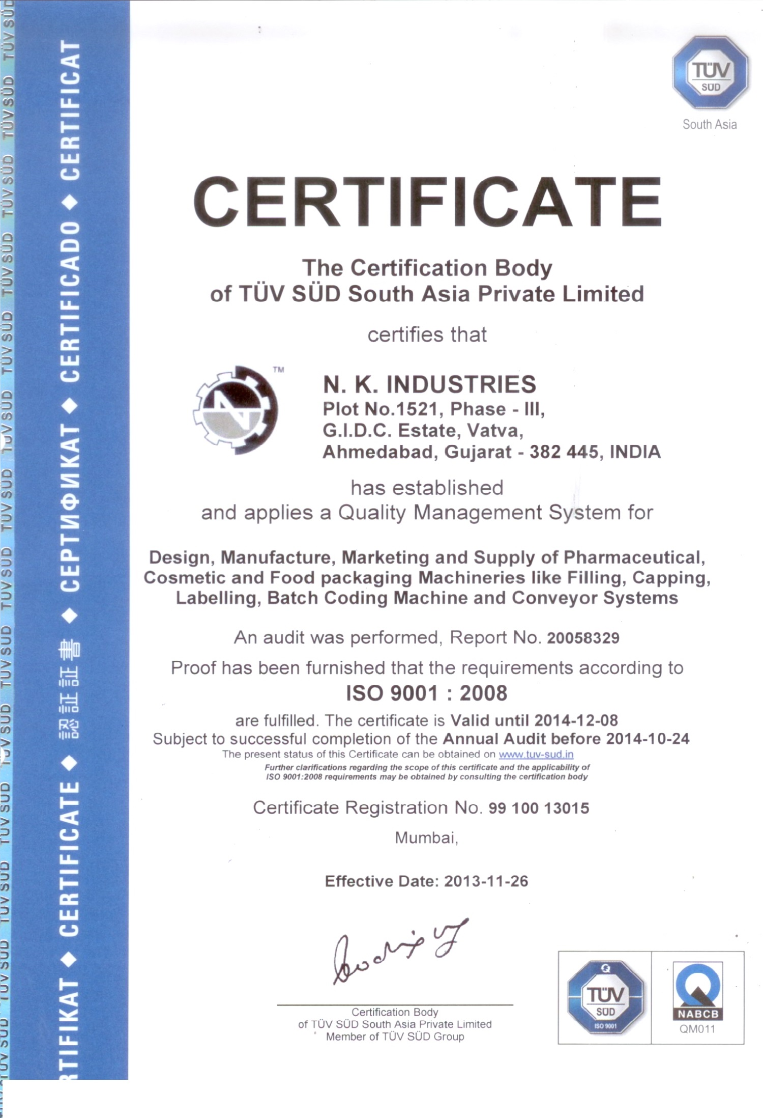 Certification nk industries iso 90012008 tuv sud certificate nk industries xflitez Image collections